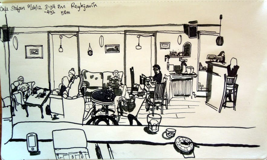 Stofan Cafe, as seen by one of the many artists who frequent the cafe.