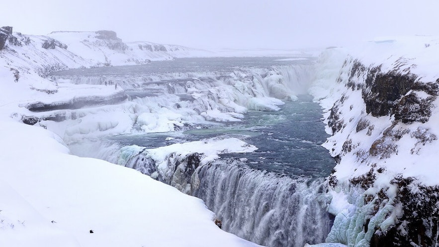 冰島黃金瀑布冬季景色
