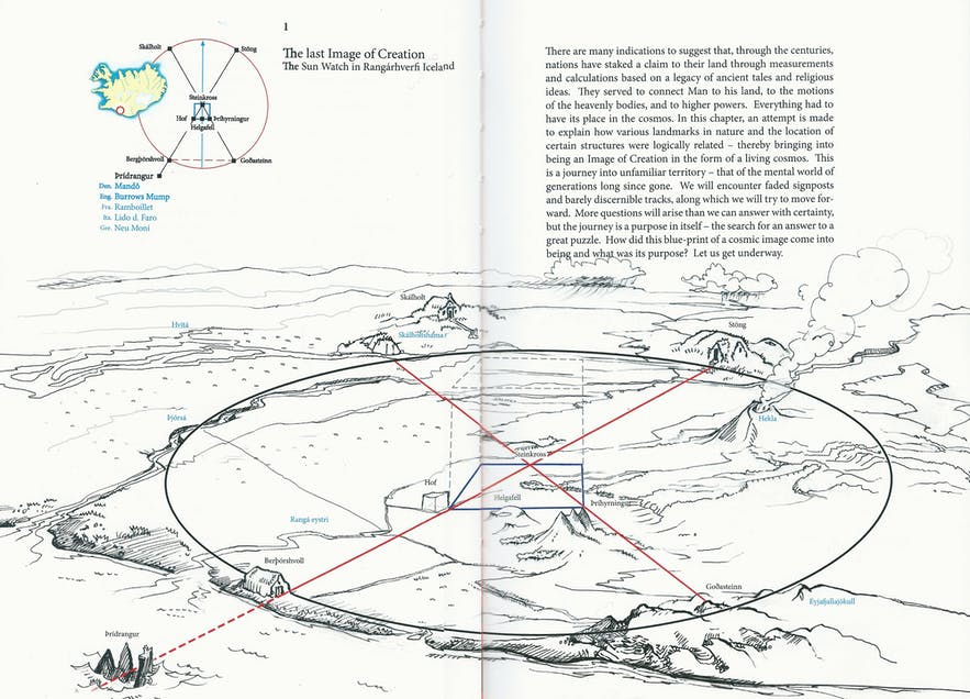 The Landscape Cosmogram Theory as relevant to Icelandic settlements. One can see how the landmarks have been used to mark specific geometric points.