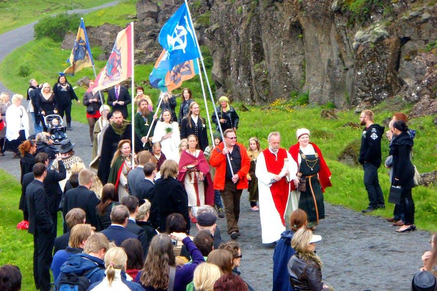 An Ásatrú Fellowship parade at Thingvellir National Park, 2009.