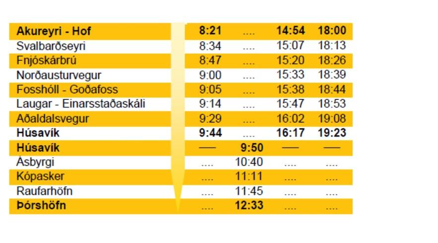 冰島阿克雷里 胡薩維克 巴士時間表