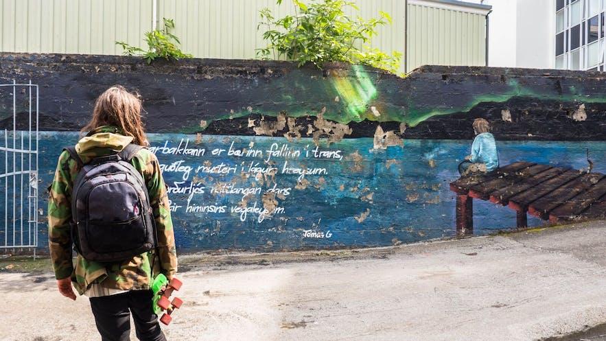 A mural inspired by Tómas Guðmundsson's poet about Hafnarbakki, located at Hafnarbakki itself