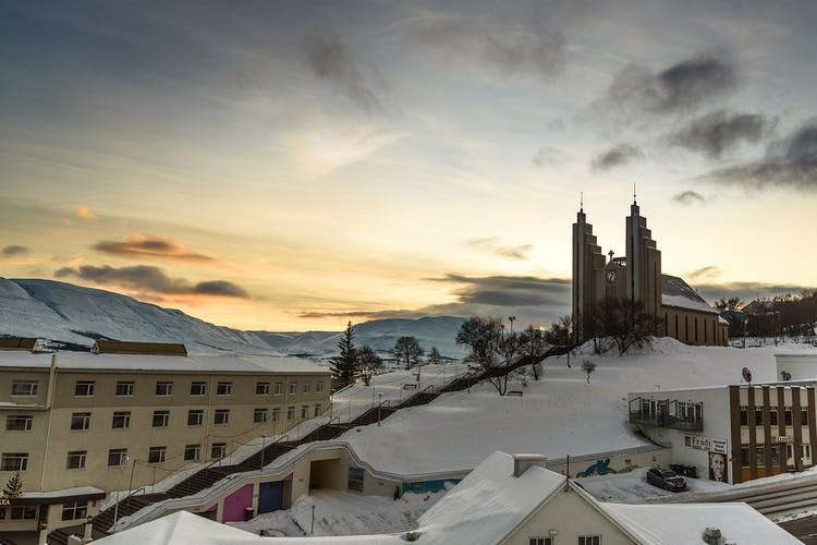 Akureyrarkirkja church is the most iconic architectural landmark of Akureyri town, the 'Capital of the North'.
