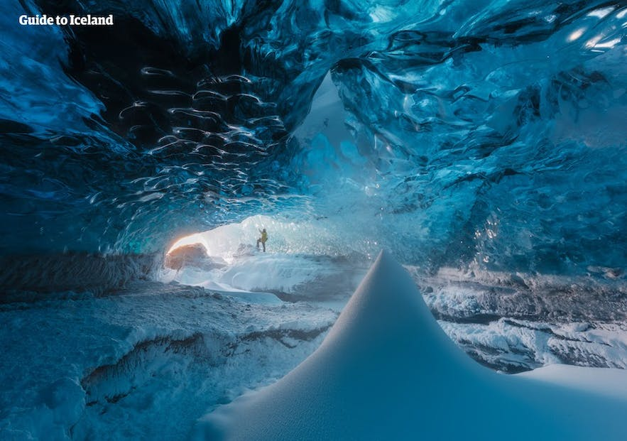Iceland has many blue ice glacier caves in wintertime