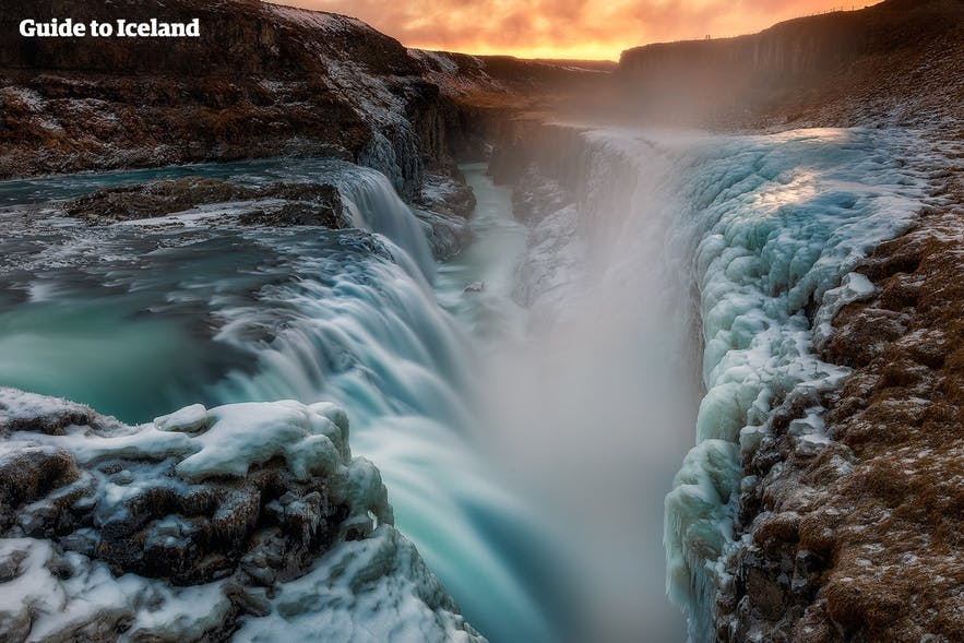 Gullfoss in winter, surrounded by ice.