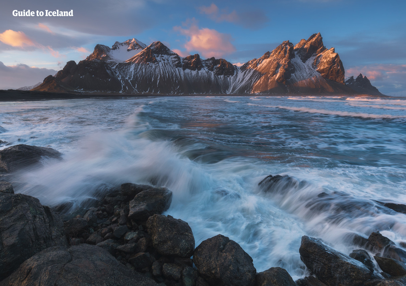 Mt. Vestrahorn on the Stokksnes Peninsula looks dazzling in winter's dress.
