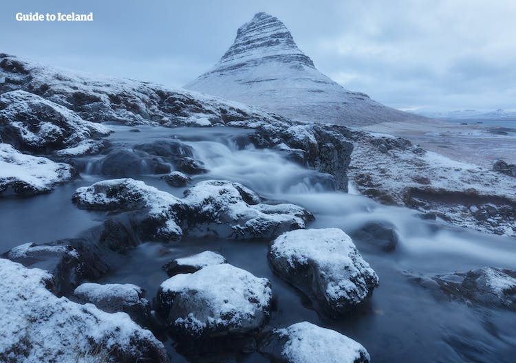 Kirkjufell in winter was used in Game of Thrones, as a location north of the Wall.