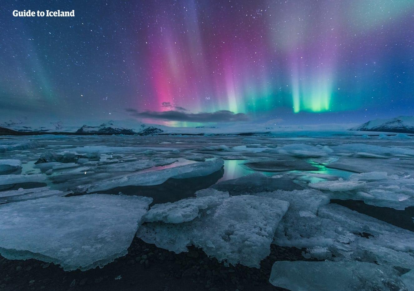 Blaue Nordlichter mit violetten Farbtönen tanzen im Winter über der Gletscherlagune Jökulsarlon in Südisland.