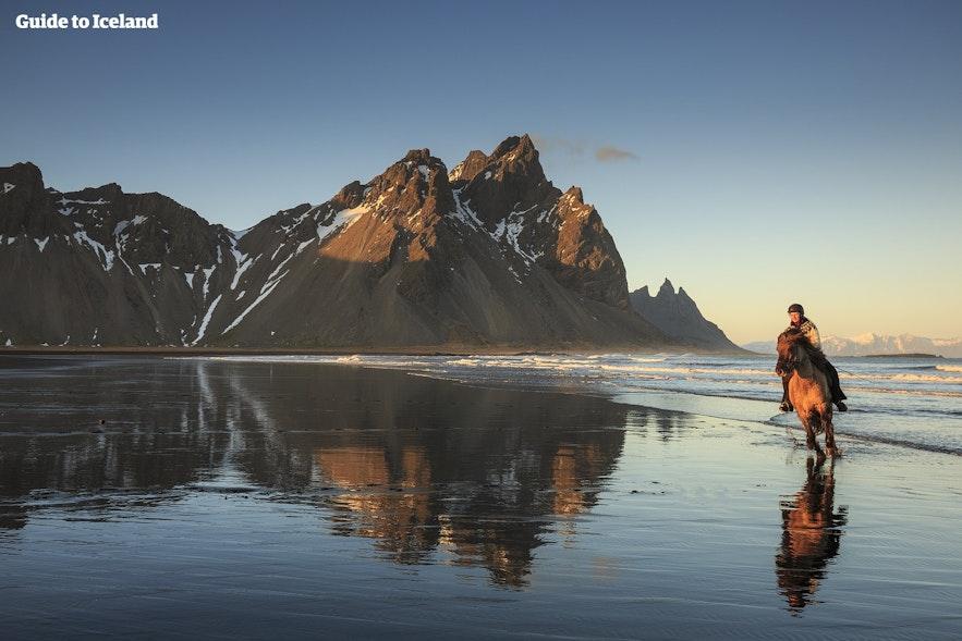 アイスランド東南部にあるヴェストラホルン山を眺める乗馬体験