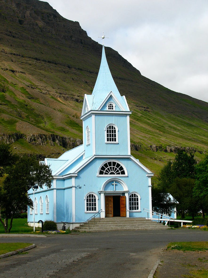 The Blue Church, or Bláa Kirkjan, in Seydisfjörður