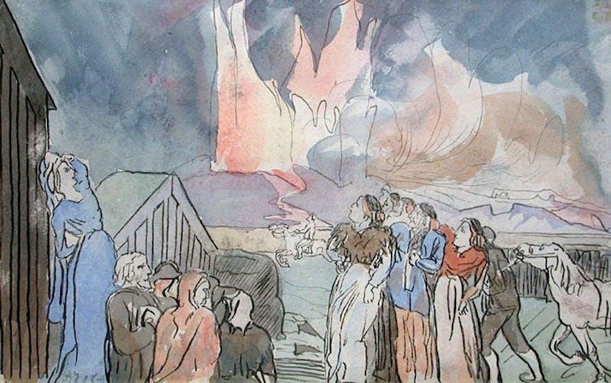 冰岛画作中展示了火山爆发时的景象