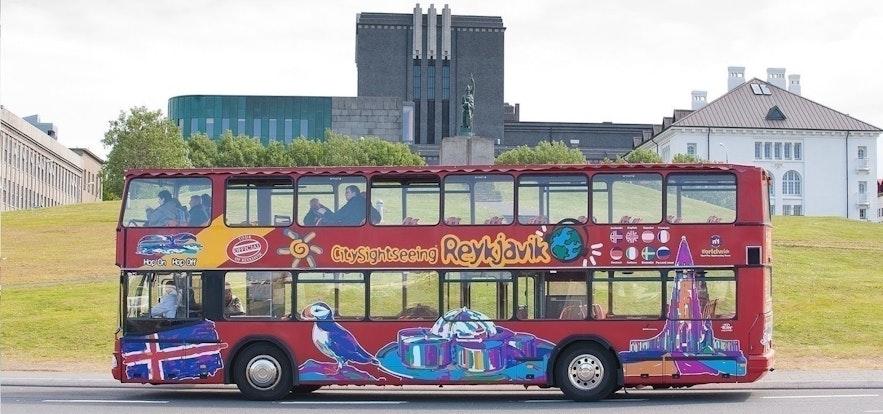 Hop On Hop Off tour bus in central Reykjavik, Iceland