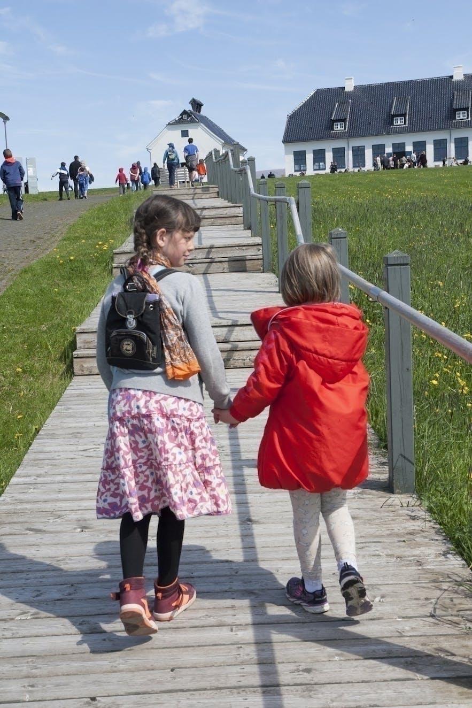 Children enjoying the sun on Viðey island