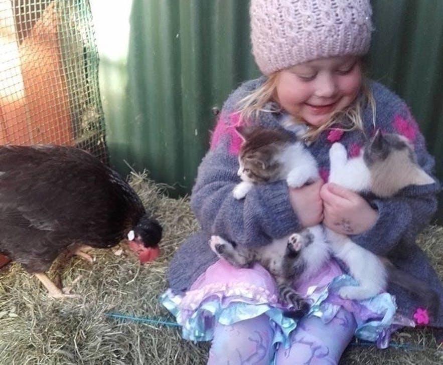 Making friends at the Petting Zoo at Slakki