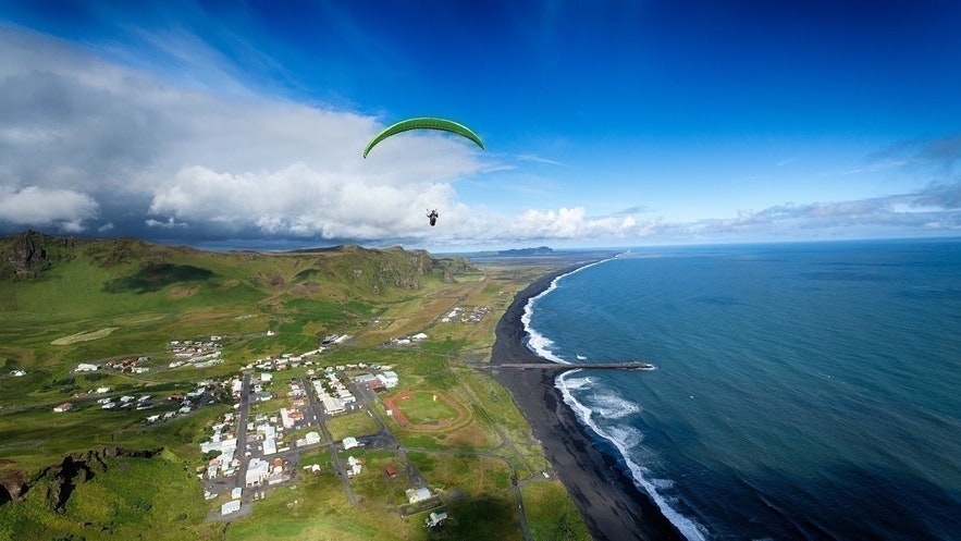 Paragliding over Vik on the south coast of Iceland