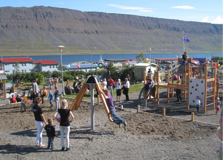Happy children at Raggi's Park in West Iceland