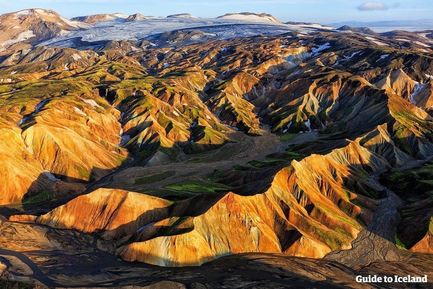 An aerial perspective over the Central Highlands of Iceland.