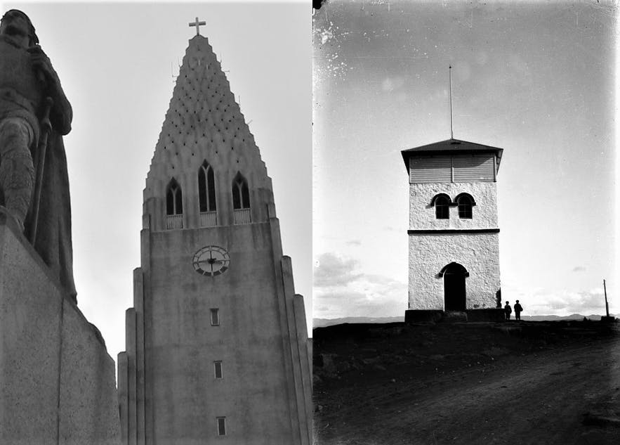 Past and present monuments; one tenth the size of the other