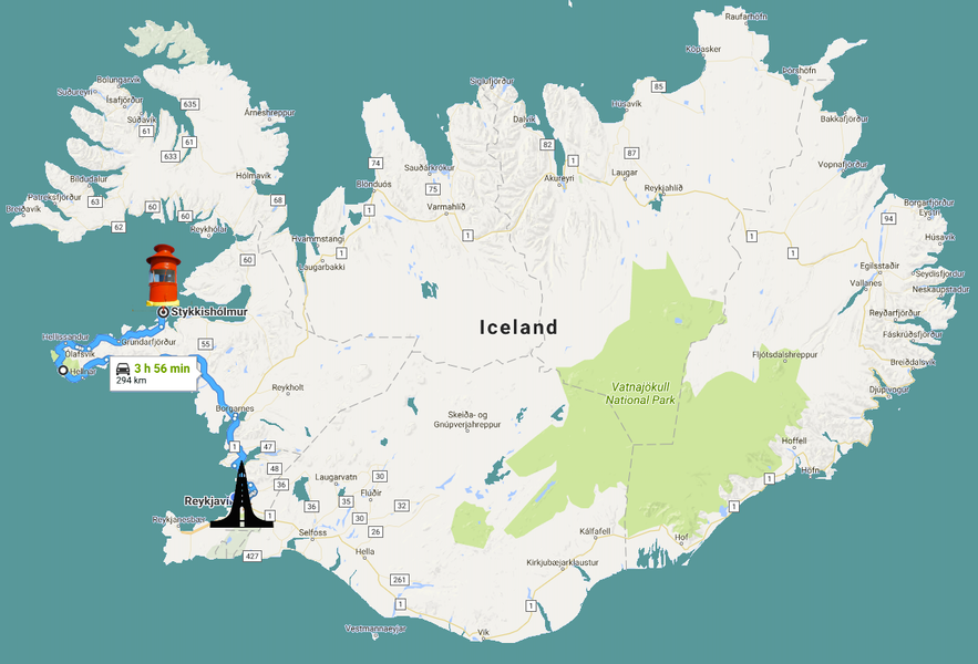 斯蒂基斯霍尔米地理位置-距离首都雷克雅未克距离
