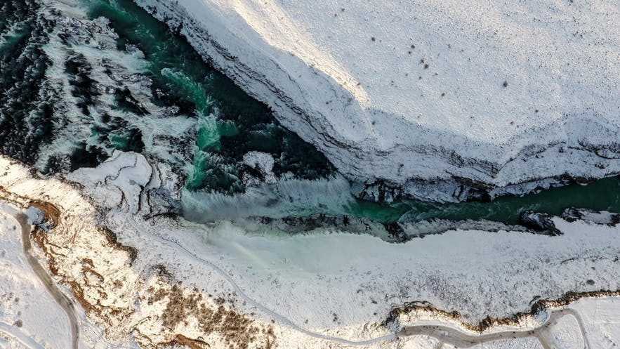 An aerial over Iceland's wintery landscapes