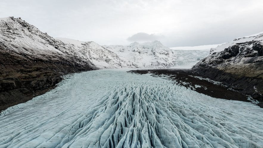 The dramatic surface of a glacial tongue