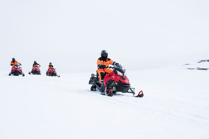 Snowmobilers on Langjökull glacier