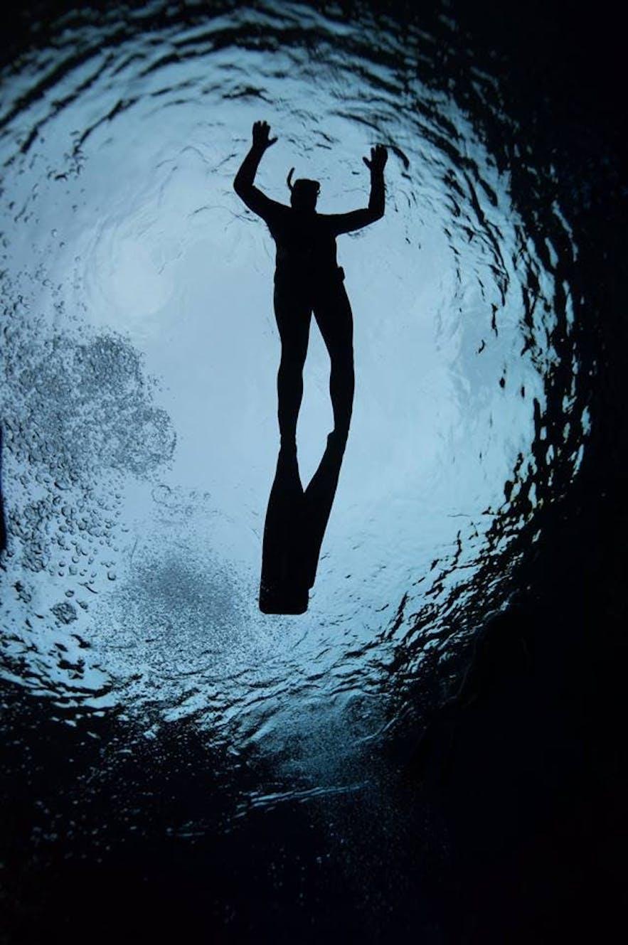 Photo d'un plongeur depuis les fonds marins