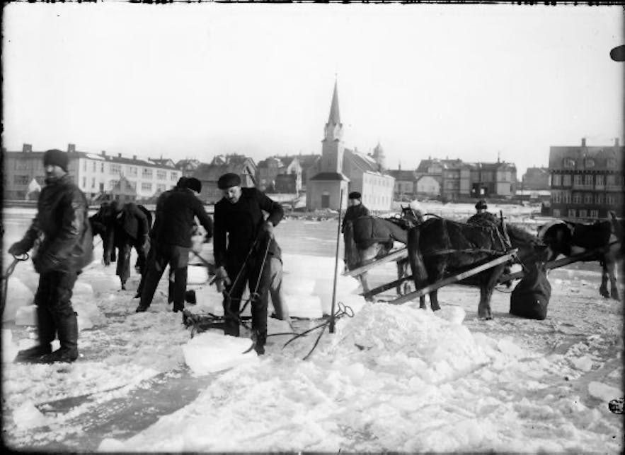 Ice used to be taken from Lake Tjörnin to be used for fish packing. The ice was stored in what is the National Gallery of Iceland.
