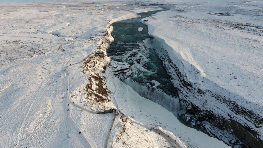 Gullfoss in Island im Januar