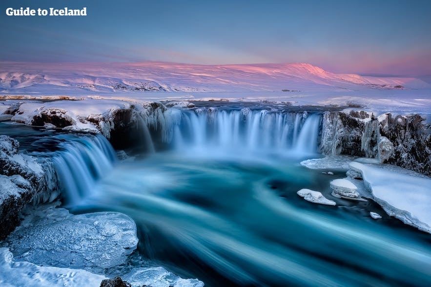 Goðafoss Waterfall in winter