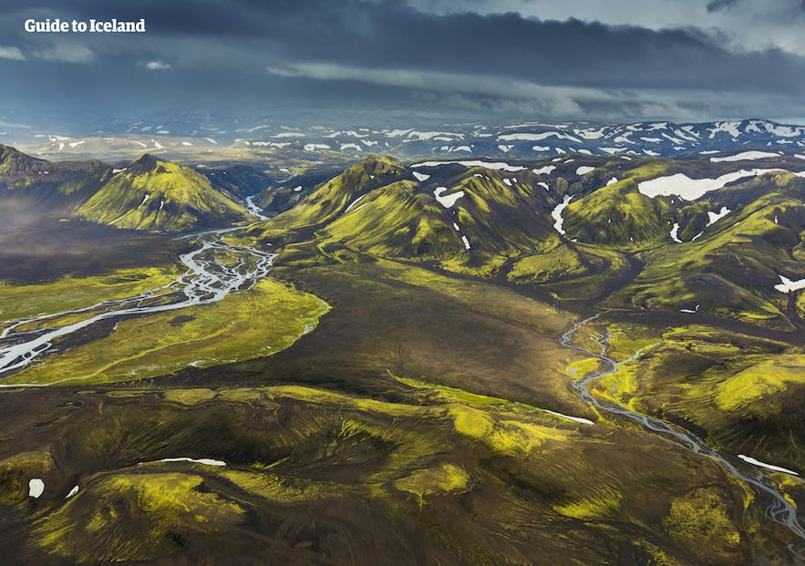 An aerial perspective over the sublime Central Highlands of Iceland.