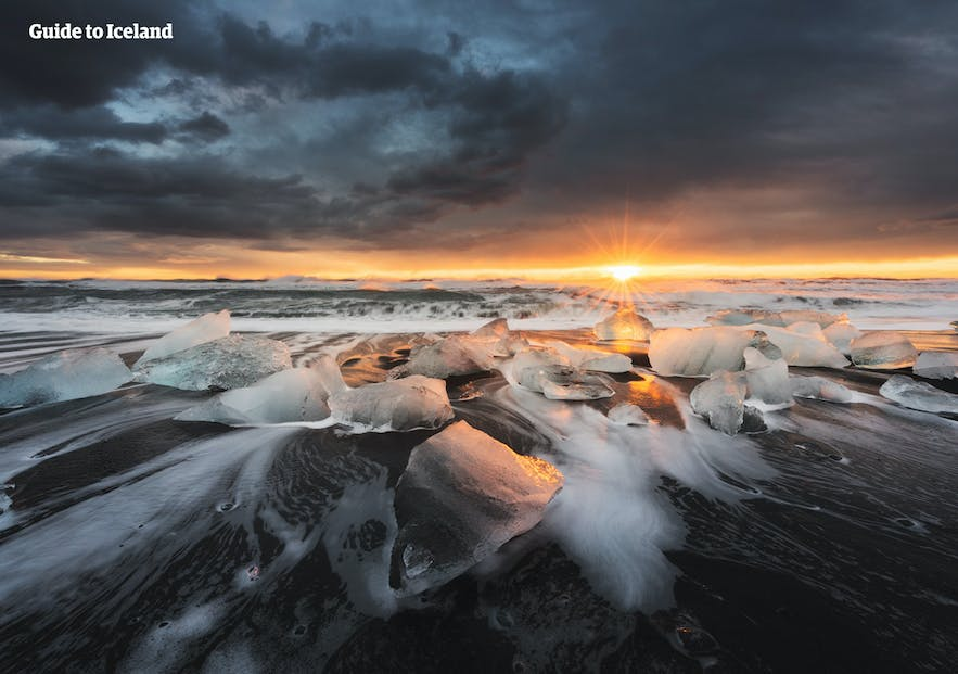 The icebergs move down toward Diamond Beach, where they become one with the Atlantic.