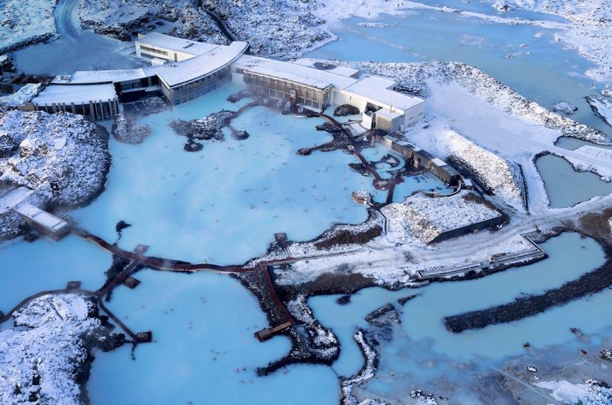 Blue Lagoon en Islande vu du ciel