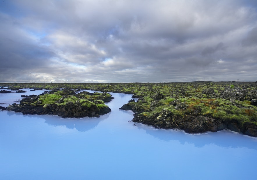 Зеленый мох, контрастирующий с Голубой лагуной в летнее время.