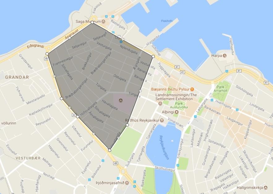 구 베스튀르바이르의 모습을 보여주는 지도