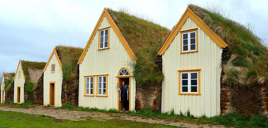 Regína at Glaumbær Turf House in North-Iceland