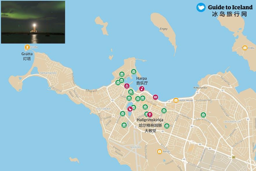 冰岛雷克雅未克Grotta灯塔位置地图