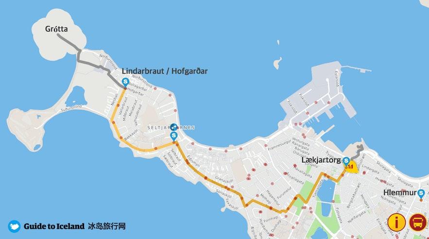 冰岛首都雷克雅未克Grotta灯塔公交车示意图