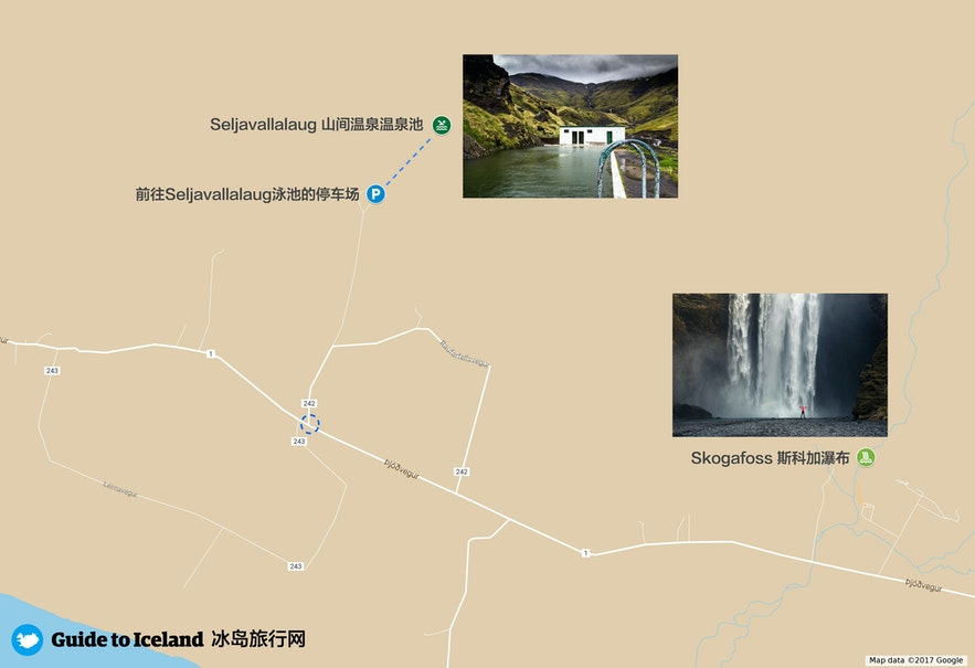 冰岛南岸Seljavallalaug泳池路线地图