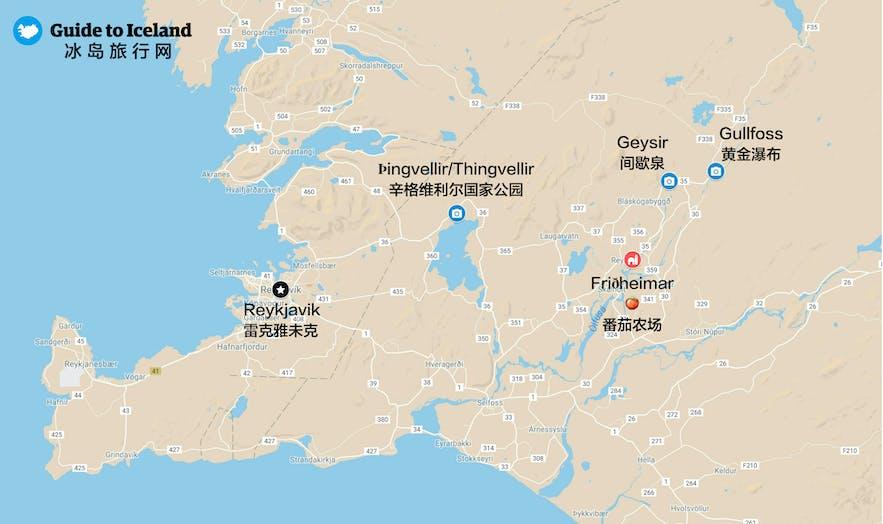 冰岛黄金圈沿线Friðheimar番茄农场路线地图