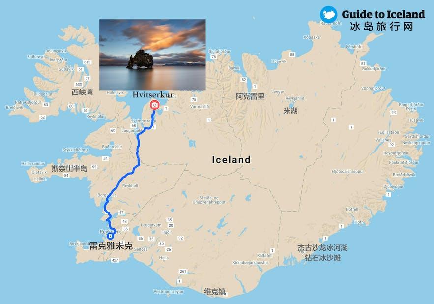 冰岛北部犀牛石-Hvítserkur地图