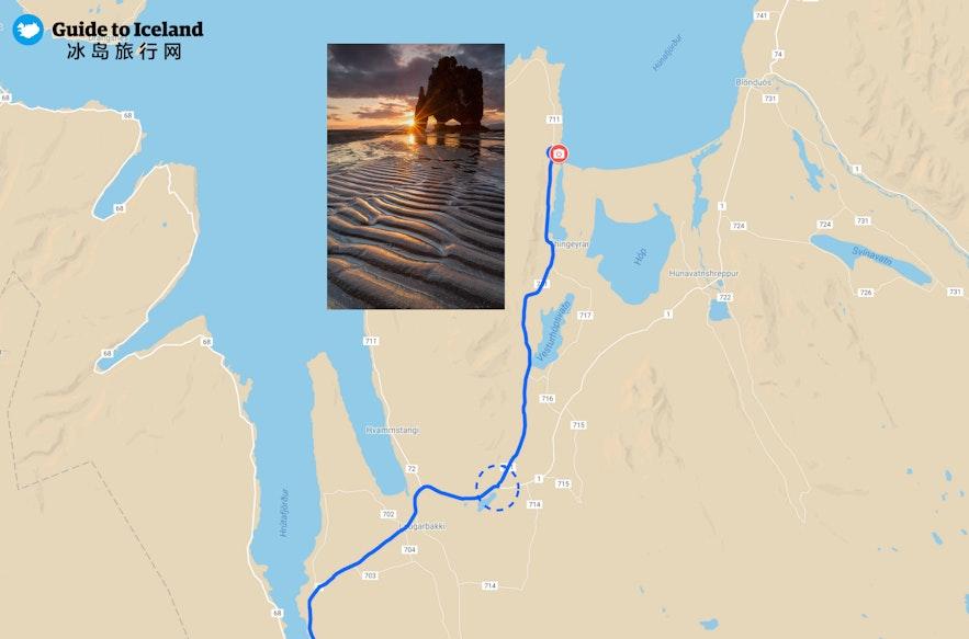 冰岛北部犀牛石-Hvítserkur地图细节