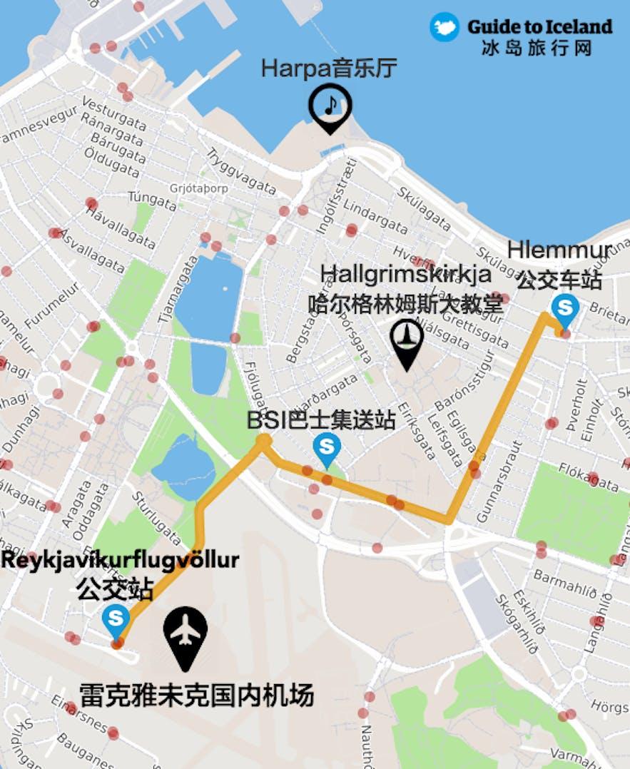 冰岛首都雷克雅未克市区国内机场位置及公交车地图