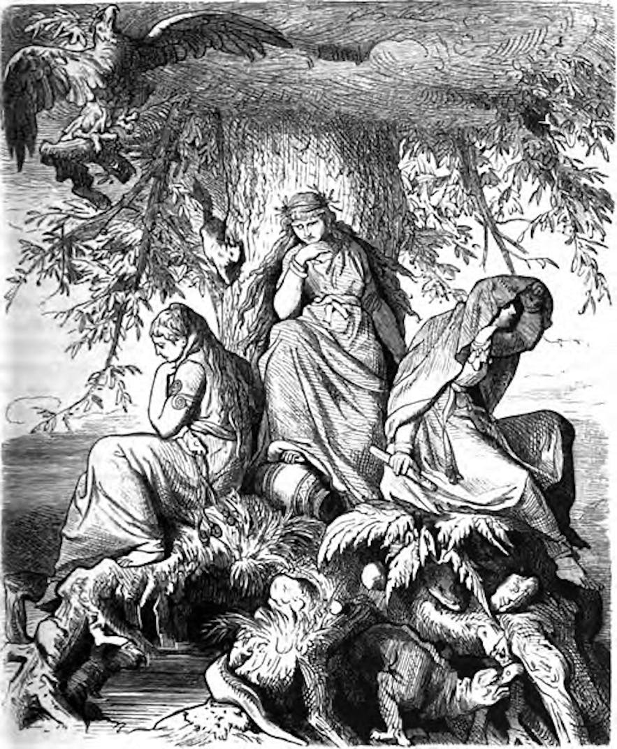 The three Norns by the World Tree