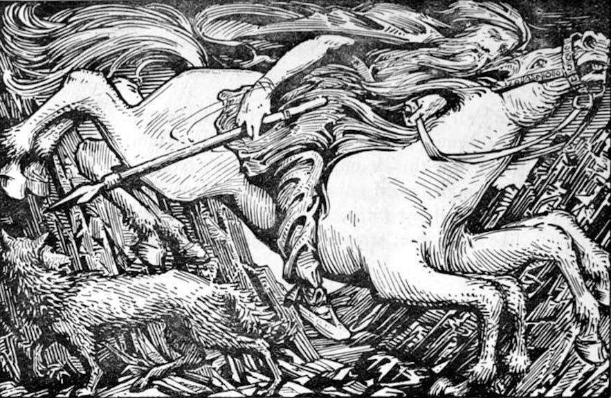 Odin riding Sleipnir to Hel