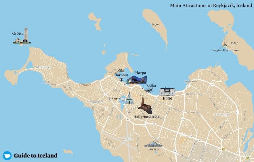 Karte mit den wichtigsten Sehenswürdigkeiten in Reykjavík, der Hauptstadt von Island