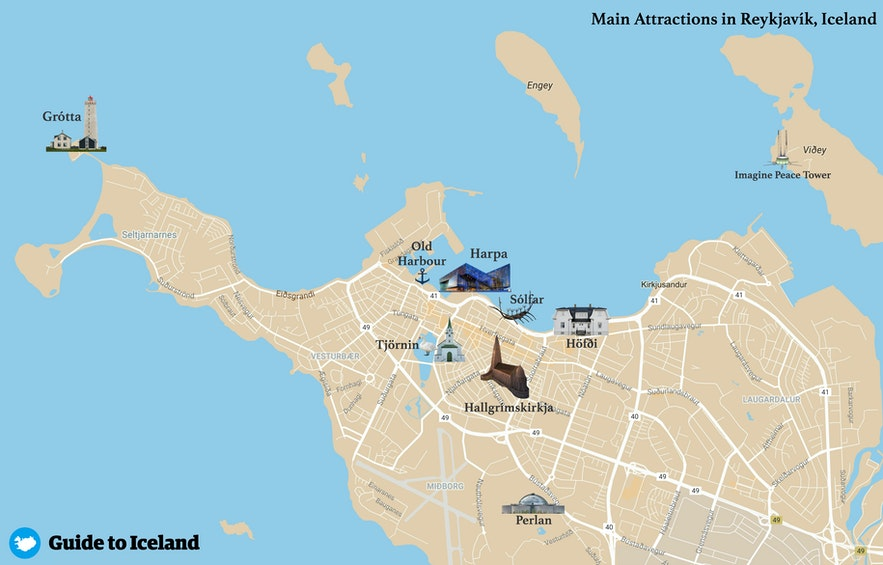 Map of Main Attractions in Reykjavik, the capital of Iceland
