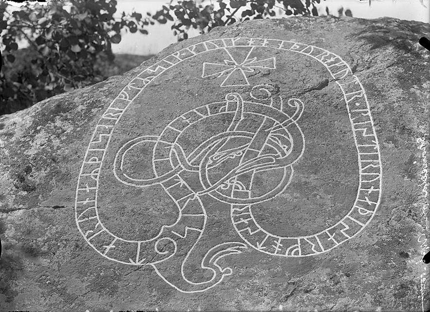 Runes on a rock at Ekeby