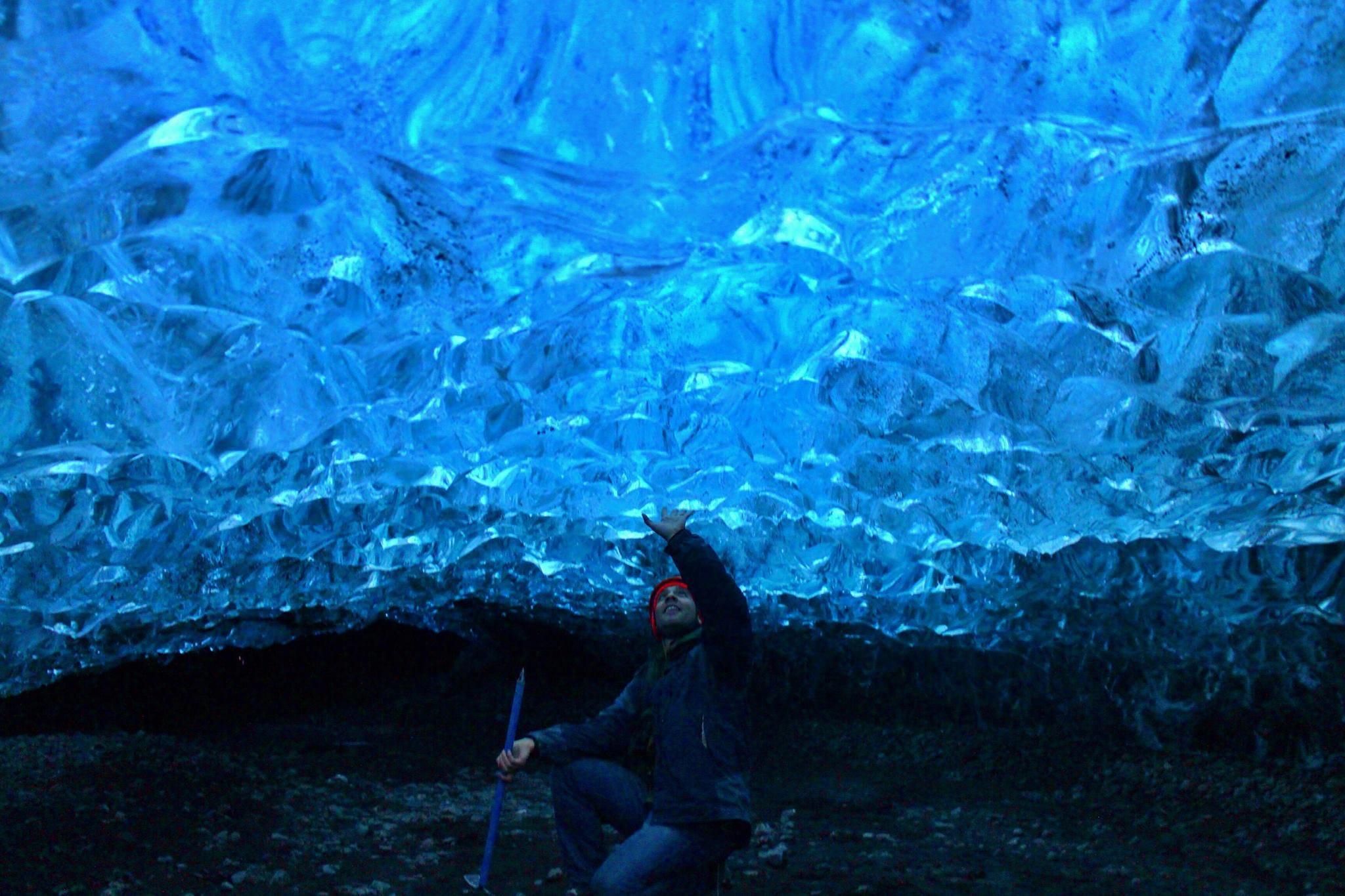 Marvel over a crystal ice cave inside Breiðamerkurjökull glacier outlet.