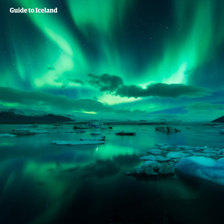 The northern lights over Jokusarlon glacier lagoon.